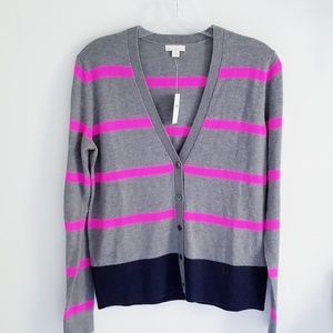 Gap NWT gray cardigan pink stripes Small